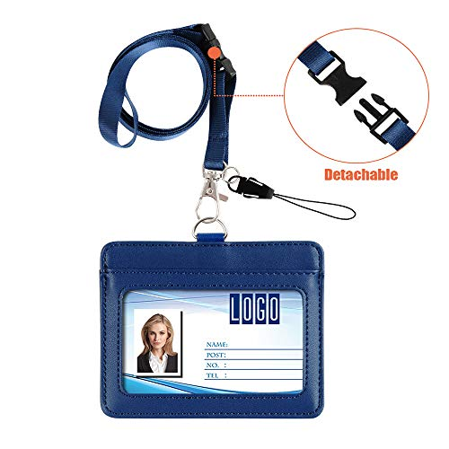 """Badge Holder, Life-Mate Double Sided Thicker PU Leather ID Badge Card Holder Wallet Case with 2 Cards Slot and 20"""" Detachable Neck Lanyard/Strap for Key USB (Blue, Horizontal)"""