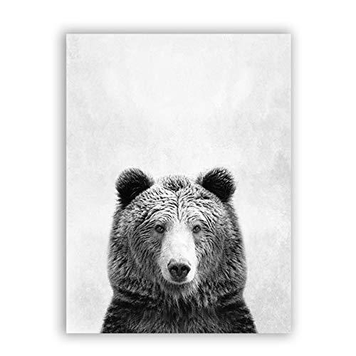 N / A Noir et Blanc Animal Ours Art Impressions sur Toile et Affiches, Animal Ours Photographie Toile Peinture Artiste Mural Maison sans Cadre décorat