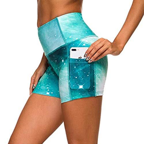 Dasongff Fitness Damen Shorts Bunte Radlerhose Kurze Leggings Yogahose Sporthose Shorts mit Taschen Schnell Trocknende Trainieren SweatshortsHohe Taille
