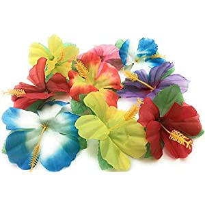Hawaiian Set Artificial Silk Hibiscus Flowers Hawaiian Luau Tropical Decorations – 96 flowers