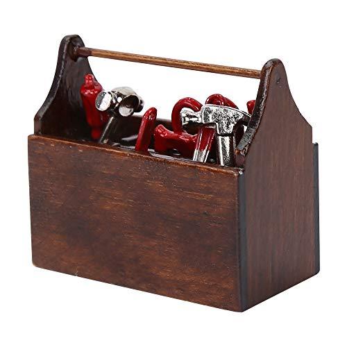 HEEPDD Miniatur-Werkzeugkasten aus Holz, Puppenhaus-Werkzeugkasten mit Werkzeugen für Puppenhaus-Zubehör im Maßstab 1:12