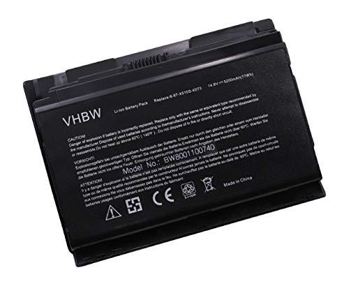 vhbw Li-Ion Akku 5200mAh (14.8V) für Notebook Laptop Clevo P150, P150EM, P150HM, P150HMX, P151, P151EM wie 6-87-X510S-4D72, 6-87-X510S-4D74.