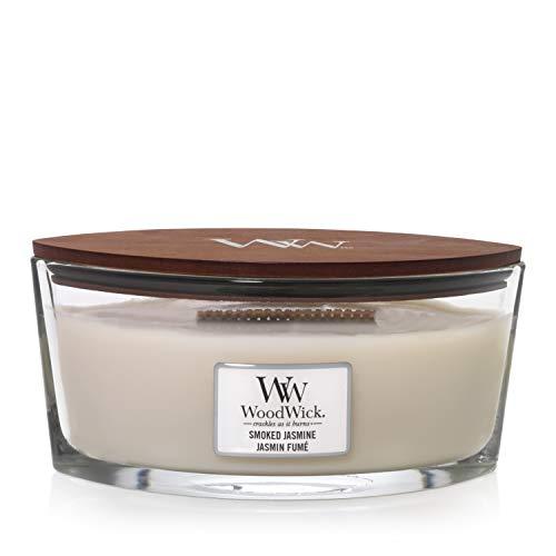 Vela aromática WoodWick con innovación Pluswick, hoja de parafina y tuberosa, Smoked Jasmine