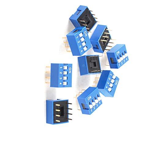 Aexit 10 Piezas Azul Doble Fila 8 Pin 4 Posiciones Interruptor DIP de (model: V5040VIIO-7843WA) 2.54mm de Paso