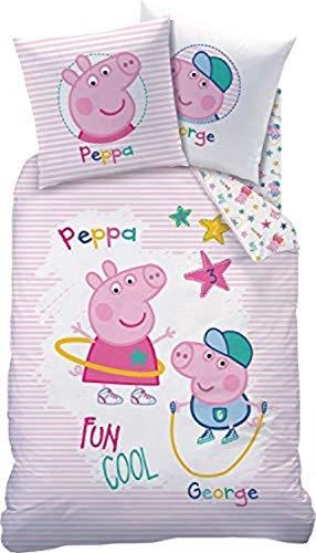 CTI Kinder-Wendebettwäsche Peppa Wutz Renforcé rosa-bunt Größe 140x200 cm (70x90 cm)