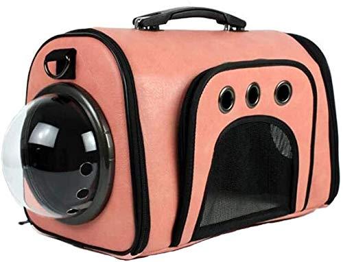 FQCD Haustier-Rucksack Leichte Raumkapsel Haustier Hund Katze Träger wasserdichte Reise tragbaren Premium-Schultertragetasche (Color : Pink)