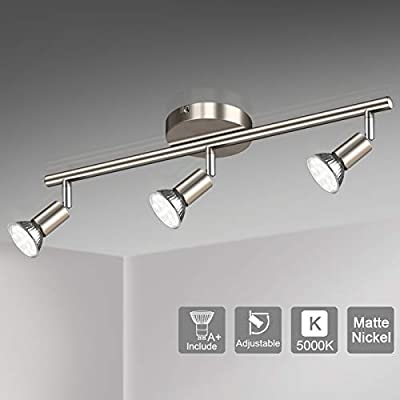 Unicozin LED 3 Light Track Lighting Kit, Matte Nickel 3 Way Ceiling Spot Lighting, Flexibly Rotatable Light Head, Track Light Included 3 x LED GU10 Bulb (4W, Daylight White 5000K, 400LM)