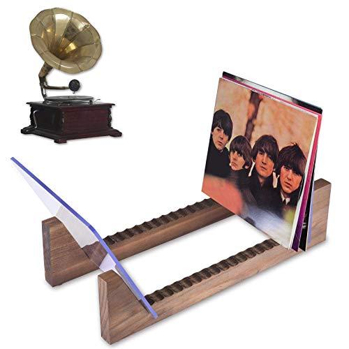 PUTAOYOU Soporte de vinilo de récord de pino Soporte de almacenamiento de madera, portero del álbum de escritorio Rack con base antideslizante, sostenedor de acrílico premium, el estante tiene hasta 2