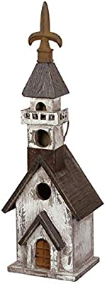 Carson Home Accents 106634 Birdhouse Church Black White 17.75 x 5.5