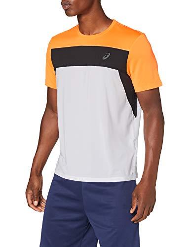 Asics Race SS Top Camiseta, Hombre, Brilliant White/Orange Pop, S