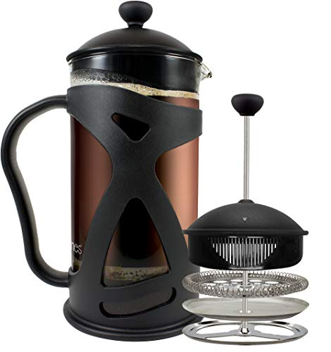 KONA French Press Coffee Maker With Reusable Stainless Steel Filter, Large Comfortable Handle & Glass Protecting Durable Black Shell