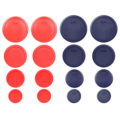 Pyrex 7202-PC 7200-PC 7201-PC 7402-PC Red and Blue 16pc Plastic Lid Set