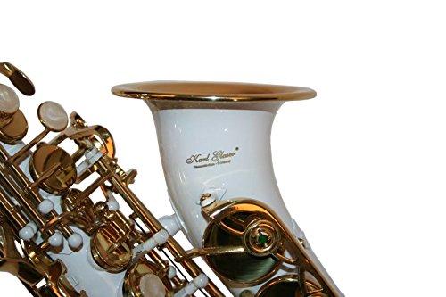 Karl Glaser Sopran Saxophon, gebogen, weiß/gold, mit Koffer