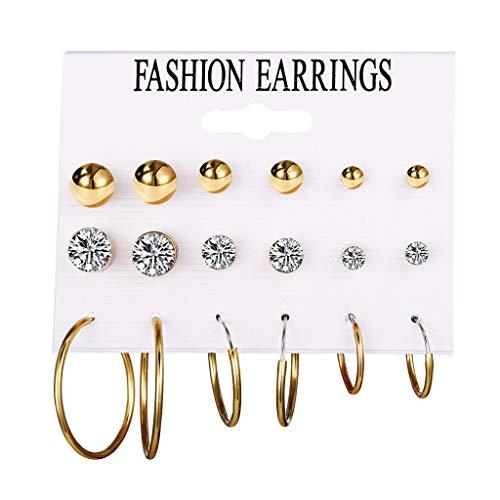 Yncc✬ Les Femmes Boucles d'oreilles De Boucles d'oreille De Mode Boucles De La Mode Femmes, 9 Paires De Femmes Mode Strass Perles Artificielles Boucles d'oreille Bijoux Coffret