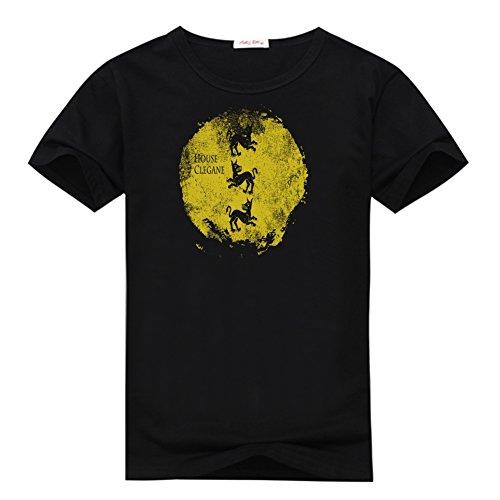 Anedreabe Women's Design O-neck T-Shirt Game Of Thrones House Clegane Printing XL Black