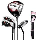 kofull Juego de palos de golf profesionales para hombre, bolsa de golf (4clubs+bolsa de pie rosa)