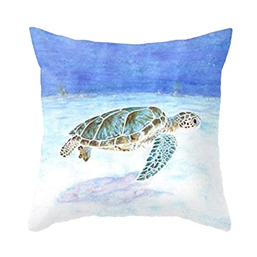 Funda de almohada de tortuga marina, decoración temática de verano, funda de cojín súper suave, cuadrada, decorativa, para sofá, hogar, sofá, 61 x 60 cm