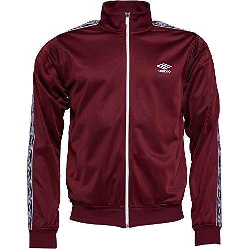 Umbro Herrenjacke, Active-Style, Sweatshirts, mit durchgehendem Reißverschluss, Trainingsjacke, Retro-Stil Gr. Medium, burgunderfarben