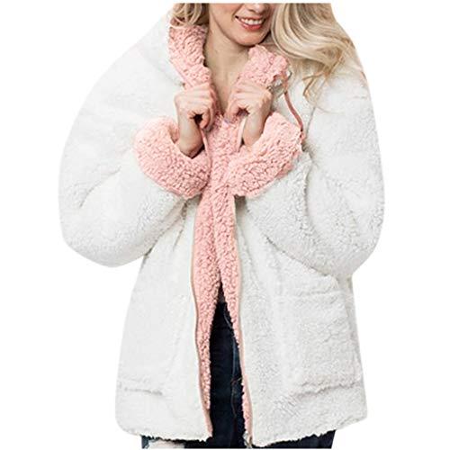 Damen Fleecejacke Sweatjacke Pulli mit Zwei Seitentaschen Oversize Hoody Teddy-Fleece mit Kapuze Mantel Plüsch Kapuzejacke Fleece Pullover Warme Pulli Flauschjacke Frauen Wintermantel Weiß XL