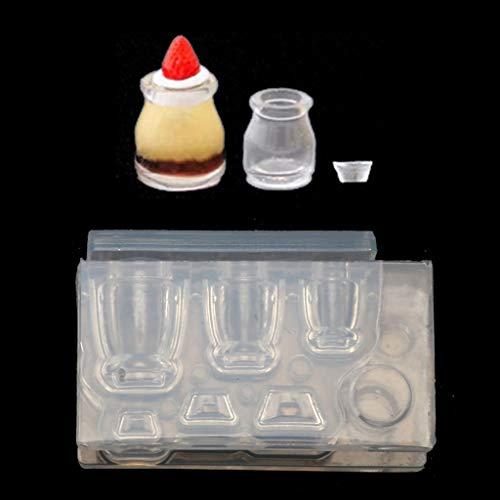 Changzhou Botella de vidrio pequeña 3D de resina molde de bebida botella de vaso taza de copa de alimentos simulados mini taza de pastel de resina de silicona herramienta de artesanía