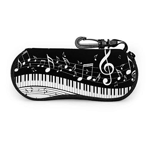 sherry-shop Estuche de gafas con mosquetón Teclas de piano Notas musicales Gafas...