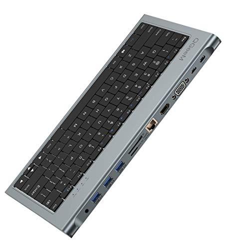 USB C HUB Adapter, QGeeM 11-in-1-USB C-Docking Station mit Tastatur, USB C auf HDMI / VGA, 3 USB 3.0-Anschlüsse, RJ45-Ethernet, 100W PD, SD/TF-Kartenleser Kompatibel mit MacBook Pro, iPad Pro, iMac
