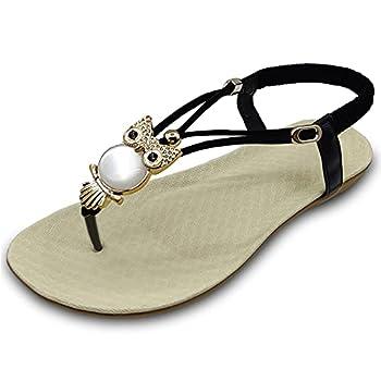 Yazhui Women s T-strap flat Sandals Bohemian Owl Beaded Summer Beach Thong Sandals Black 9.5