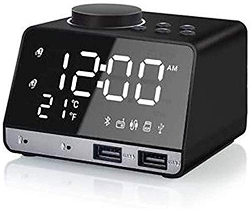 Klok Bureau Alarm Bluetooth Radio Mobiele Telefoon Oplader Muziek Groot Scherm Clear Numbers Scratch Bewijs Helderheid Verstelbare Slaap