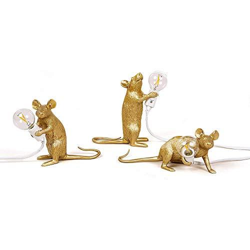 Maus Tischlampe Creative Resin Schreibtisch Licht Nachttischlampe Licht Home Room Decor, Es ist die perfekte Leuchte für Zuhause und jeden Ort, den Sie mögen(Gold, Kombination)