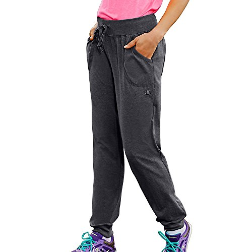 Champion Women's Jersey Elastic Ribbed Waistband Pocket Pants, Granite Heather, L