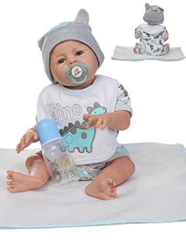 Reborn Baby Doll Boy Silicone Full Body Boy Realistic Anatomically Correct 20inch 50cm Weighted Baby Gray Doll Vinyl