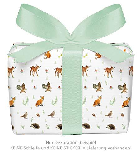 fioniony® 5er Set: 5 Bögen Geschenkpapier WALDTIERE • Kindergeburtstag Schulanfang Kindergartenkind Waldkindergarten Schulkind • Format: 50 x 70 cm
