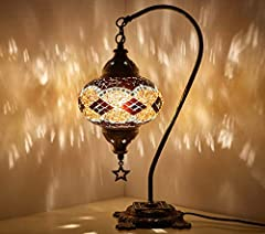 "Turkish Moroccan Mosaic Colorful Boho Table Lamp. Height : 40cm (16""). Globe Diameter : 16cm (6.5""). Globe Material : Hand-Cut Glass Pieces & Glass Beads. Decorative Hanging STAR with Logo. Antique Brass Color Engraved Metal Body. On/Off Switch. Sent..."