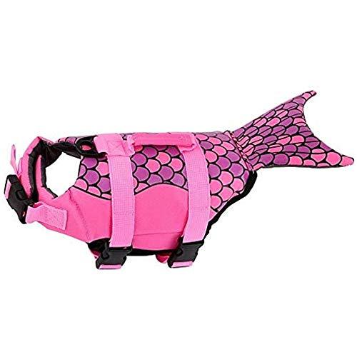 RongXin Schwimmweste, Verstellbarer Badeanzug für Hundeschwimmwesten Badeanzug im Hai-Stil Meerjungfrauen-Tier-Schwimmweste Doggy für klein mittel groß (M,Rose Red)