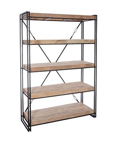 Canapé-en-ligne Etagère bibliothéque - LEONARD - Etagère bibliothéque bois naturel/métal noir - Jolipa 53210 - Vendu