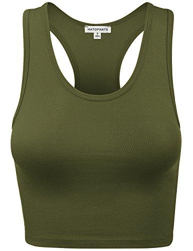 HATOPANTS Women's Cotton Racerback Lingerie Camisoles Basic Crop Tank Tops ArmyGreen S