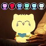 子供のランプシリコーンLedランプ減圧ランプ付き録音メッセージ猫シリコーンパットライトセンサーシリコーン圧力センサーかわいいランプ子供用夜ランプおもちゃ多色,ピンク,Recording