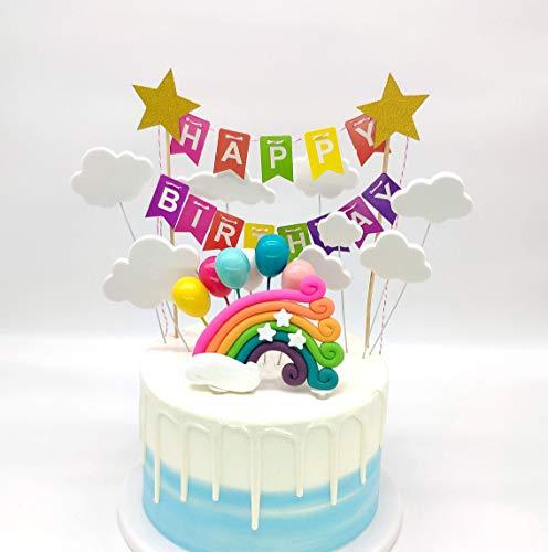 SNOWZAN Regenbogen Luftballons Wolken Kuchen Topper Rainbow Cloud Moon Star Ballon Tortendekoration Geburtstag Kuchen Cake Dekoration Baby Shower kuchendeko Kuchen Party deko mädchen Bunte Flagge