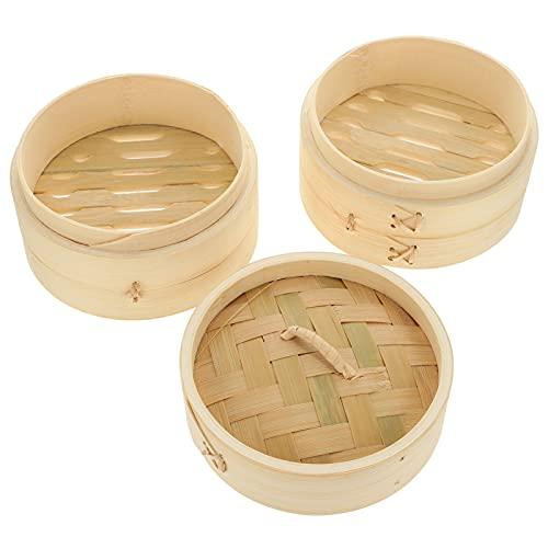 YARNOW 2Pcs di bambù A Vapore Cestino Cinese A Vapore Cesto di Cibo A Vapore Cestino Bao Gnocco Panino A Vapore con Coperchio per Il Riso Verdure Pesc