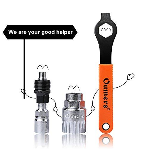 Oumers Fahrrad Crank Extractor/Arm-Entferner und Innenlager-Entferner mit 16mm Schraubenschlüssel. Professionelle Fahrrad Repair Tool Kit - 2