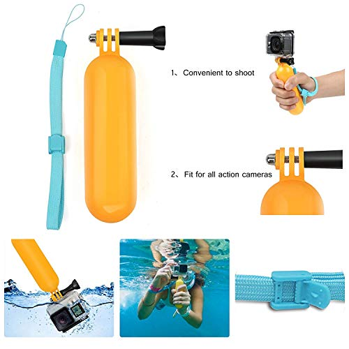 SHOOT Floating Hand Grip Handle Stick Bobber Floaty Handheld Monopod for GoPro Hero 9 8 7 Black Silver White 6 5 4 3+ 3 Hero(2018) with 12pcs Anti Fog Inserts
