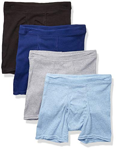 Hanes Boys' Big 4 Pack Ultimate ComfortSoft Grey Dyed Boxer Brief, Black/Blue, Small