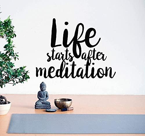 Pegatina de vinilo para pared, frase motivacional después de que la vida comience, meditación, Yoga, adhesivo para Mural de estudio, 52 * 72 cm