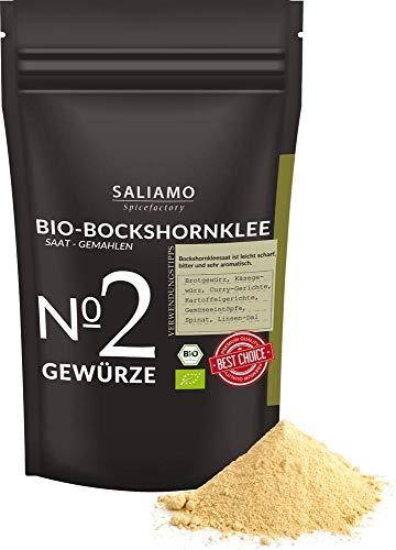 BIO Bockshornklee gemahlen, Bockshornkleesamen gemahlen, als Tee oder Gewürz, Bockshorn-Tee, Bockshornkleepulver, 250 g | Saliamo