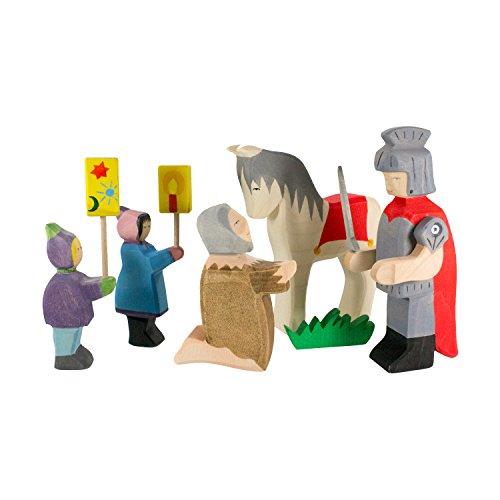 Holzspielwaren Ackermann Sankt Martin & Bettler – Adventfiguren aus Holz, inkl. Pferd und Laternen-Kindern (im Set, 6-teiliges Holzspielzeug)