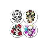 MySweetStitch Juego de 4 pegatinas con sensor Freestyle Libre Flower Skull | con orificio para ventilación de la piel