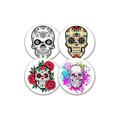 MySweetStitch   Freestyle Libre Sensor Sticker 4er Set Flower Skull   mit Loch für Belüftung der Haut