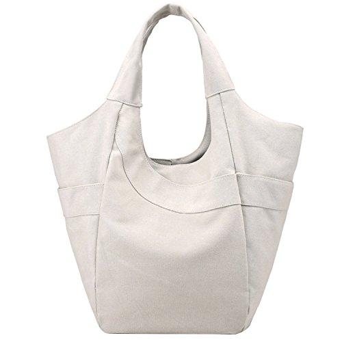 PB-SOAR Damen Canvas Shopper Schultertasche Handtasche Henkeltasche Hobo Bag Schulterbeutel Wickeltasche (Weiß)