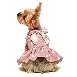 Fitwarm Pet Clothes for Dog Dresses Puppy Turtleneck Dress Doggie Outfits Birthday Party Costumes Pink XS