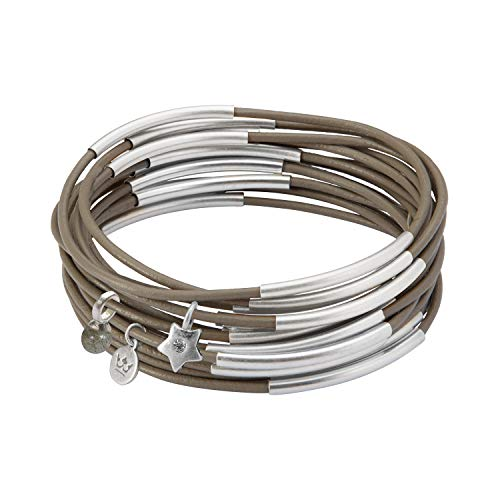 SENCE Copenhagen Armband Damen Grau Urban Gypsy Stack Bracelet mit Labradorit Stein Armreif 10er Set Lederarmband - Versilbert - 6,5 cm - G812